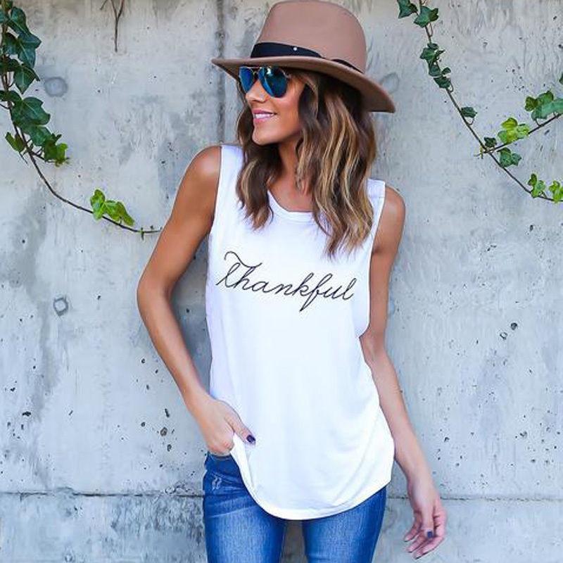 New cool Tank Tops Women Summer Sleeveless thankful Letter Print Tank 2019 white black Female Casual Vest Ladies Tops Tee