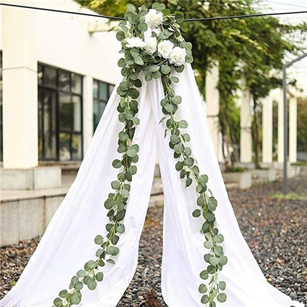 2m Ivy Artificial Eucalyptus Leaves Vine Wedding ... on Wall Sconces For Greenery Decoration id=83693