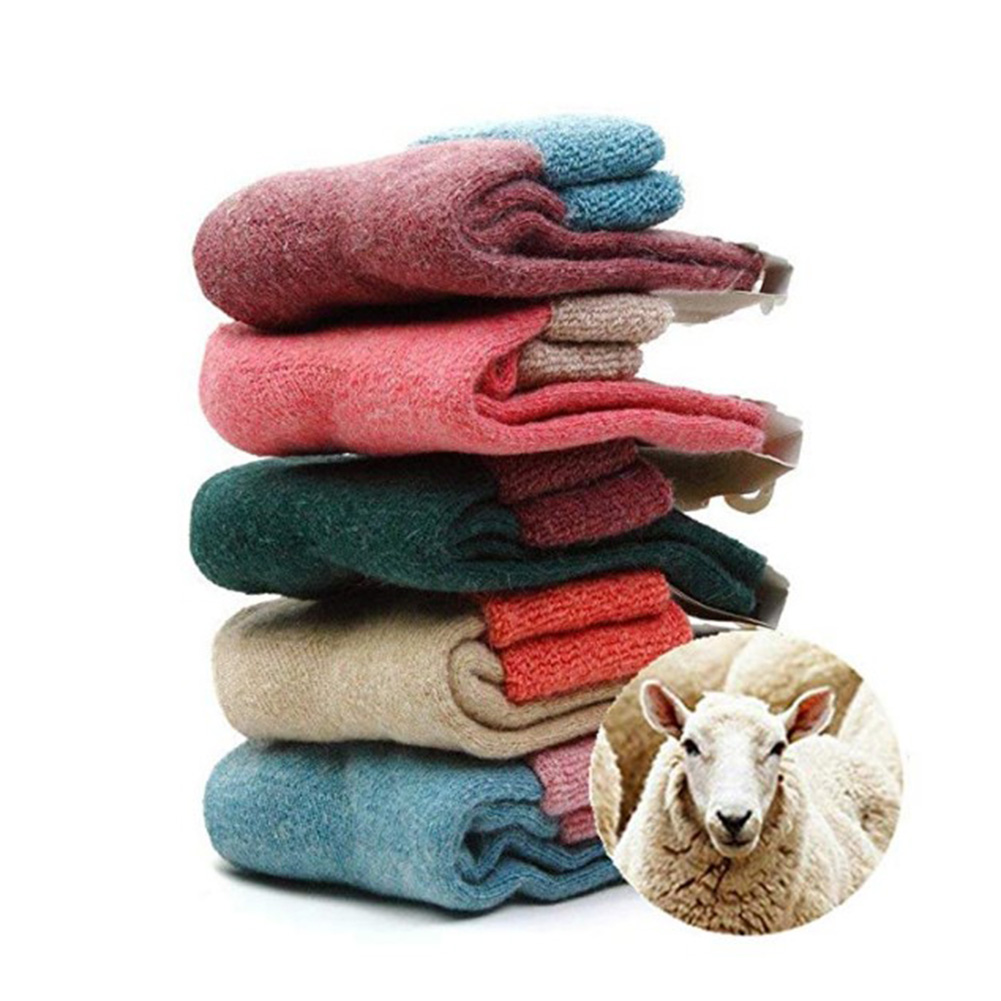 2018 Winter New Thick Rabbit Merino Wool   Socks   Women'S Winter Tube Terry   Socks   Patchwork Super Thick Snow   Socks   Woolen