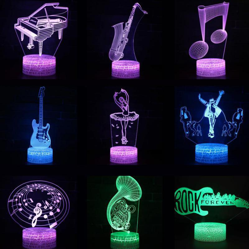 Musical Instrument Note 3d Light Neon Party Decoration Christmas Decorative Lights 7 Color Change Remote Touch Switch 3d Lamp