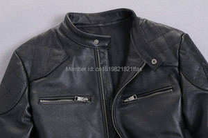 Image 4 - Bakham אמיתי עור זכר עור בגדי אופנוע בגדי עור מעיל דק צווארון עומד קצר עיצוב בקהאם עור