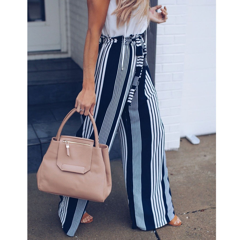 Fashion Summer Wide Leg lace up Pants Women High Waist Striped Loose Palazzo Pants Elegant Office