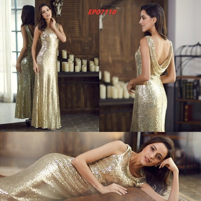 Gold Long Evening Dress Ever Pretty Back Cowl Neck EP07110GD Shine Sequin Sparkle Elegant Women 2019 Evening Party Gowns 2