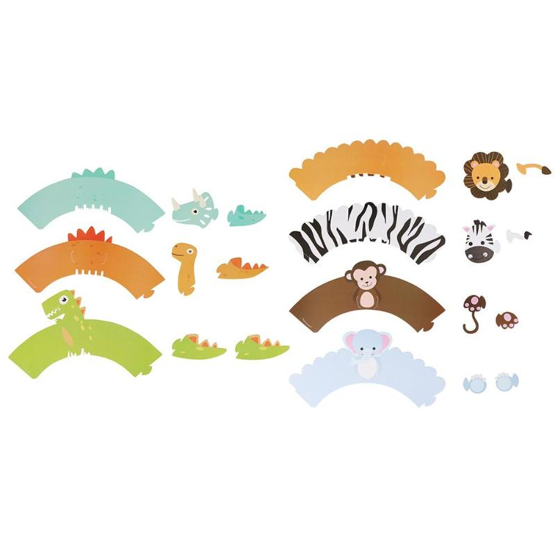 12pcs Cartoon Animal Dinosaur DIY Cake Decoration Paper Cupcake Wrappers for Kids Birthday Party Decorations 2019 New