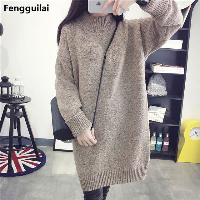 2018 Winter Medium-long Thickening Sweater Dress Pullover Female Loose One-piece Dress Turtleneck Outerwear Basic Sweater