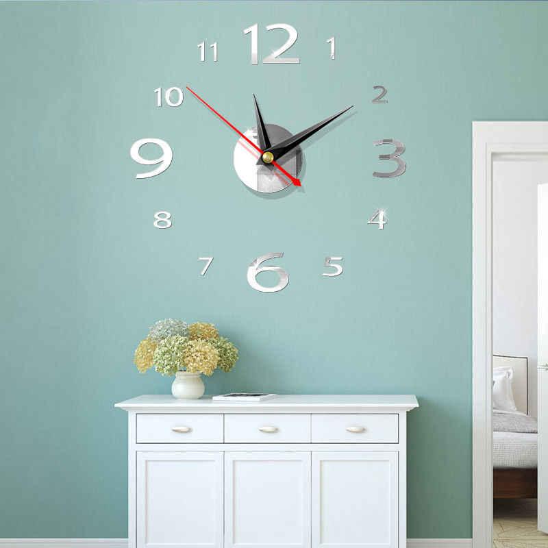 ملصقات حائط على مدار الساعة ذاتية الصنع ثلاثية الأبعاد ديكور منزلي حديث ملصقات فنية بمرآة كريستال