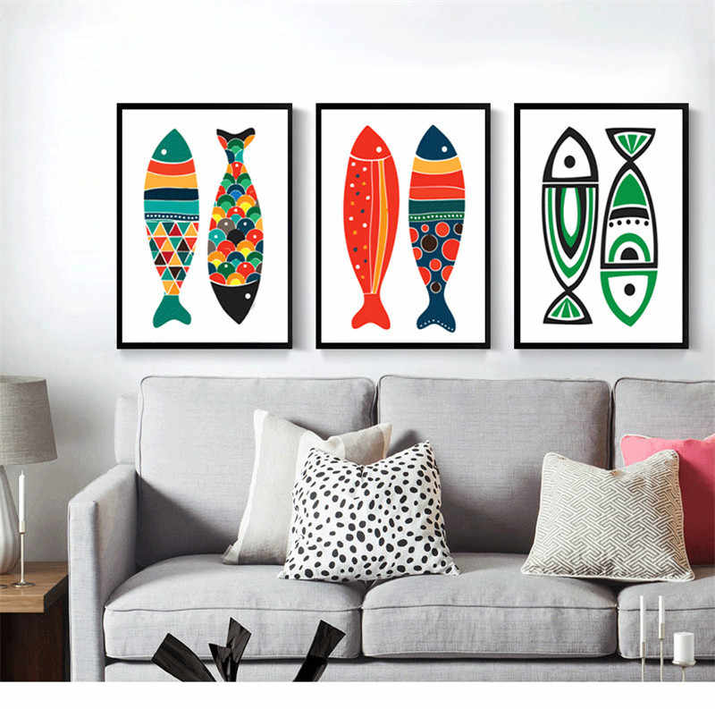Cuadros Decoracion Dormitorio Nordic Canvas Painting Wall Art Anime Poster Kitchen Fish Wall Art Canvas Unframed Pop Art Animal