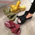 Lxuruy Брендовая обувь женские шлепанцы Туфли без каблуков на средней платформе римские шлепанцы женские пляжные Tipe Уличная обувь женские тап...
