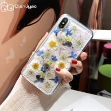 Qianliyao For iPhone X XR XS Max Phone Cases Real Flower DIY Dried Pressed Soft Cover 6 6s 7 8 Plus 11 Pro