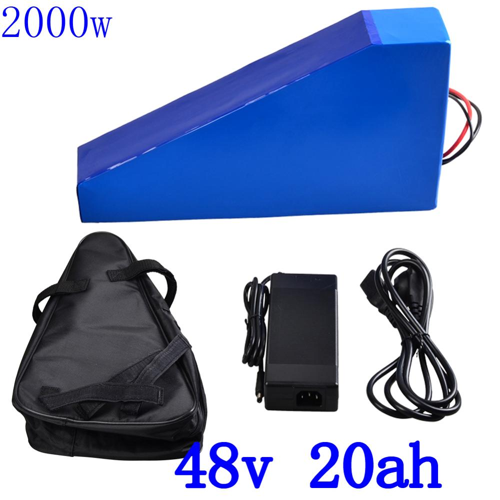 48V 2000W Triangle battery pack 48V 20AH electric bike battery 48V 20AH lithium battery with 50A BMS+54.6V charger duty free48V 2000W Triangle battery pack 48V 20AH electric bike battery 48V 20AH lithium battery with 50A BMS+54.6V charger duty free
