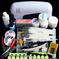 Acrylic Nail Set UV GEL White Lamp UV Gel Nail Art Tools Polish Set Paint Sanding Manicure Pedicure Nail Extension Kit for Women