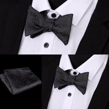 Fashion Paisley Bow Ties Self Tie Mens Bowtie Hankerchief Set Adjustable Business Wedding Hanky For Men Accessories 8Color