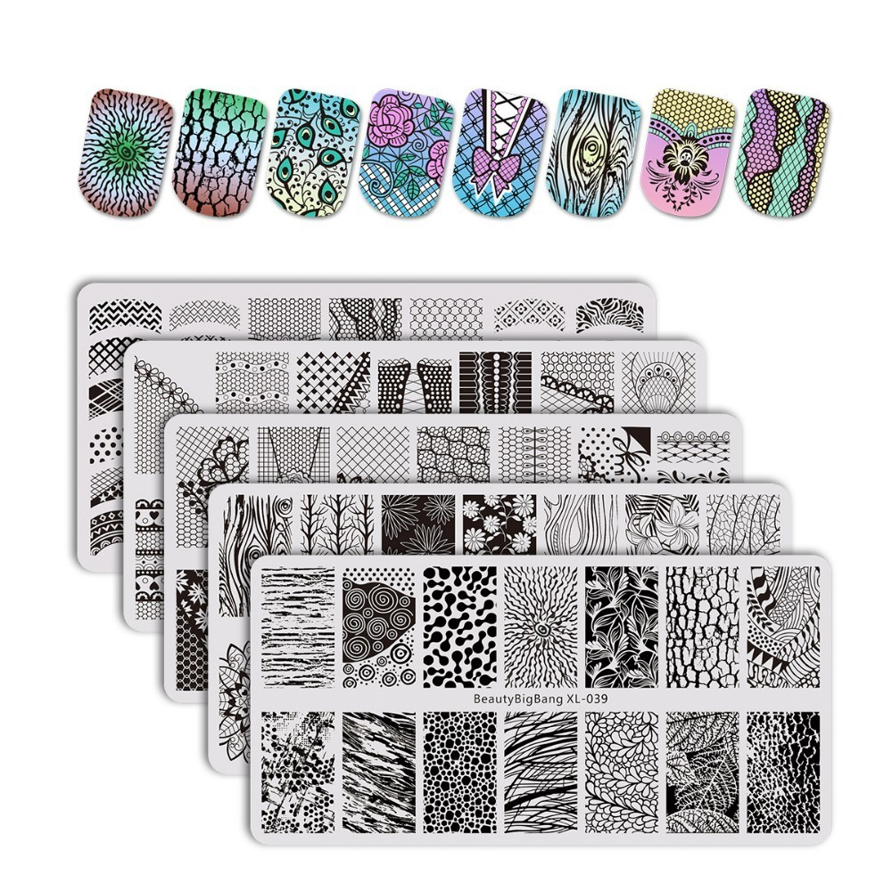 цена на 5PCS BeautyBigBang Flower Theme Nail Plates Stamp Stencil For Stamping 3D Mold Geometry Print Tree