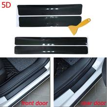 5D Carbon Fiber Vinyl Decoration Stickers Car Door Sill Guard Door Threshold Scuff Plate Car Accessories 4pcs Set(China)