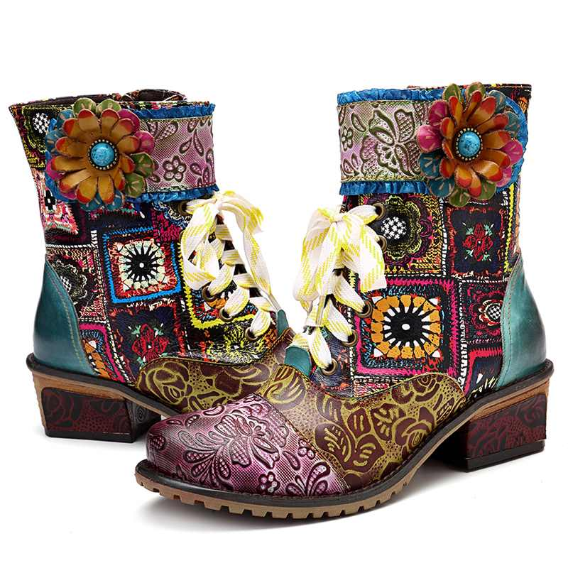 0c629d93a7c US $62.61 45% OFF|Socofy Bohemian Retro Cowgirl Boots Women Genuine Leather  Splicing Knight Winter Boots Women Shoes Woman Zipper Western Booties-in ...