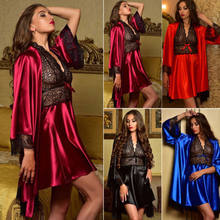 2019 Brand New Sexy Robes Bridal Silk Satin Wedding Bridesmaid Gown Women Pajamas Gown Sets(China)