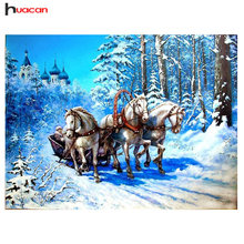HUACAN Diamond Embroidery Scenery 5D Diamond Painting Cross Stitch Horse Picture of Rhinestones Home Decor Christmas Gifts(China)