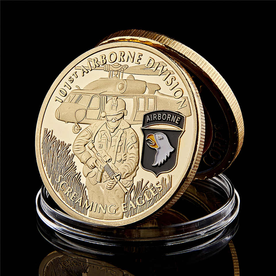 Us Army 101st Airborne Screaming Eagles Militaire Gold Souvenir Uitdaging Coin Collection