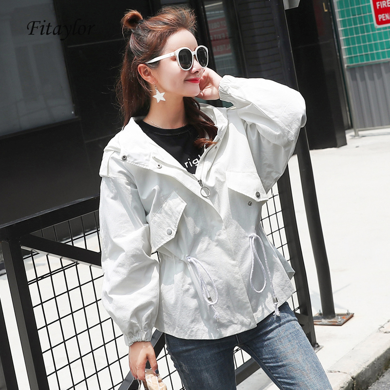 Fitaylor Spring 2019 Women Hooded   Trench   Coat Casual Slim Sash Tie Up Windbreaker coat Female Zipper Long Sleeve Outerwear