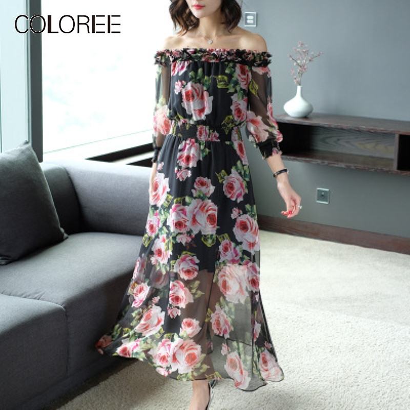 High Quality 100% Pure Silk Dress 2019 New Print Floral Elegant Long Dress Off Shoulder Vacation Beach Bohemian Dress