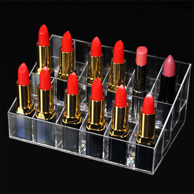 Hot 24 Grids Acrylic Makeup Organizer Cosmetic Box Storage Box Lipstick Jewelry Box Case Holder Display Stand Make Up Organizer 1