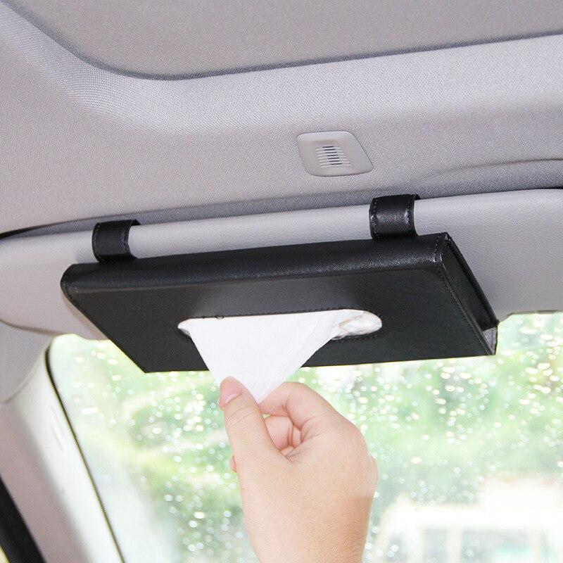 Car Sun Visor PU Leather Tissue Box Auto Clip Holder Paper Napkin Accessories