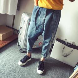 Для мужчин заниженным шаговым швом джинсы мужской уличной Танцы мешковатые Перекрестные брюки Для мужчин свободные джинсы для скейтборда