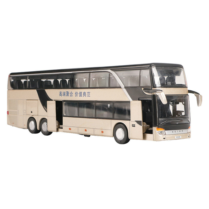 Alloy Pull Back Bus Model 1:32 High Simulation Double-Decker Sightseeing Bus Flash Toy Car Children'S Toy Sound And Light Pull