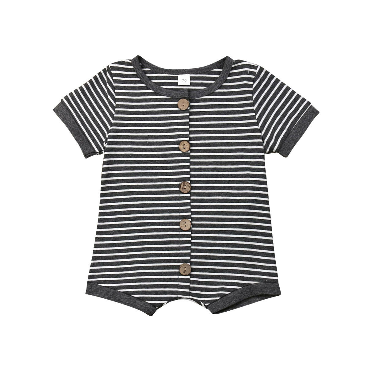 Summer Newborn Baby Boy Girl Short Sleeve Striped Button Cotton   Romper   Jumpsuit One Pieces Outfits Baby Clothes 0-24M