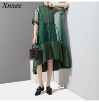 New 2019 Korean Style Two Pieces Set Women Summer Patchwork Green Mesh Dress With Vest Female Party Dresses Robe Femme