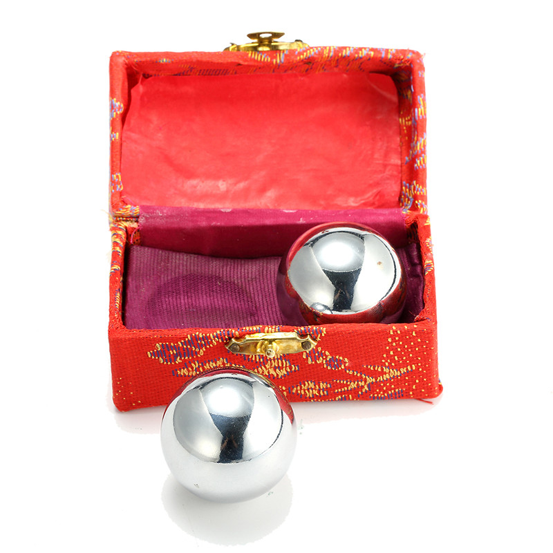 2X Chinese Baoding Balls Fitness Handball Health Exercise Stress Relaxation Therapy Chrome Hand Massage Ball 38mm