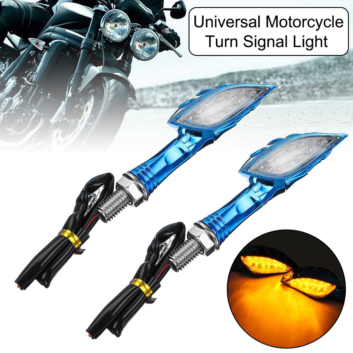 1Pair 9*2.5cm Universal 12V Motorcycle Amber Indicator LED Turn Signal Light Flasher 12LEDs Bulb