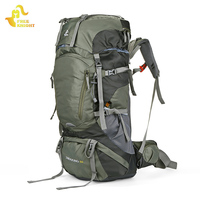 Free Knight 60L Climbing Hiking Travel Backpack With Rain Cover Nylon Waterproof Mountaineering Backpack Outdoor Bag Rucksack