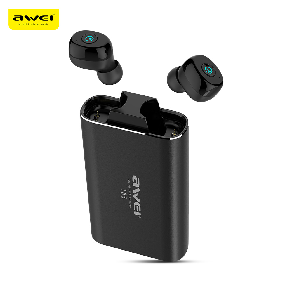 Awei T85 TWS jumeaux vrais écouteurs sans fil Bluetooth V5.0 dans l'oreille Sport écouteurs IPX4 étanche pour courir avec la Base de Recharge