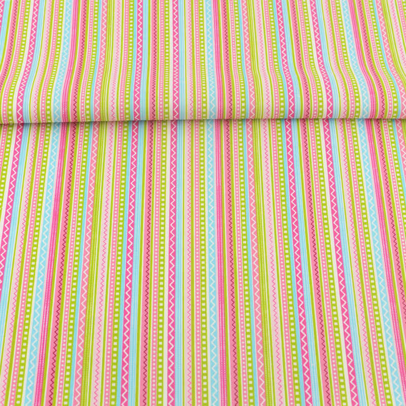 100% Cotton Fabric Printed Colored Strips Designs Tecido Decoration Scrapbooking Quilting Patchwork Sewing Textile Bedding Cloth