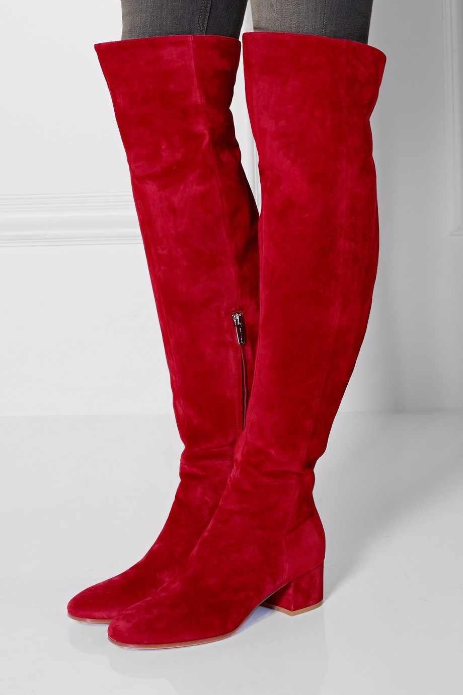 Red Suede Thick Heels Over The Knee Boots Round Toe Chunky Tight High Boot Side Zipper Women Winter Flat Boot Stretch Long Boot