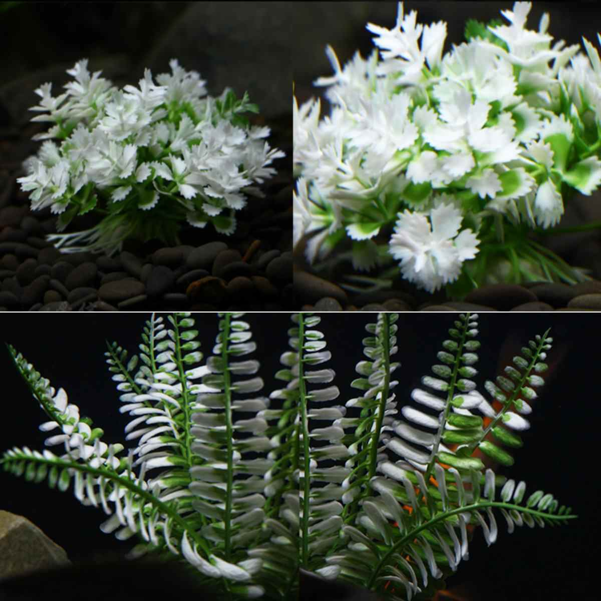 Plastic Artificial Underwater Plants Aquarium Fish Tank Decoration Green Water Grass White Leaf Crown Grass Viewing Decorations