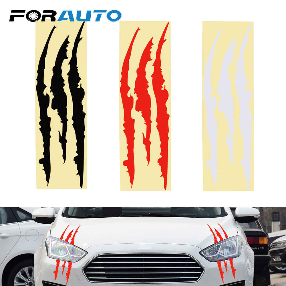 FORAUTO 40*12cm Car Sticker Reflective Monster Sticker Scratch Stripe Claw Marks 3 Colors Car-styling Exterior Accessories