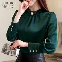 Blusas mujer de moda 2018 женские рубашки с длинными рукавами женские топы и блузки женская шифоновая  блуза, рубашка Размер Плюс  Топы 1418 45