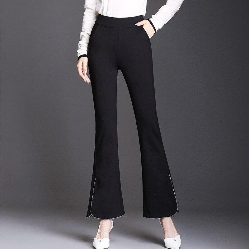 2019 Women High Waist Elastic Flare Pants Casual OL Lady Trousers Women Clothing Office Black Pants Pantalon Femme Plus Size in Pants amp Capris from Women 39 s Clothing