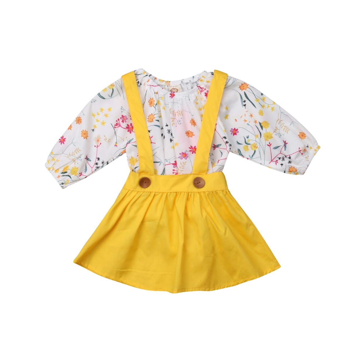 Floral Baby Girl Clothing Long Sleeve Tops Bodysuits Tutu Skirt 2pcs Cotton Casual Party Clothes Girls 0-24M
