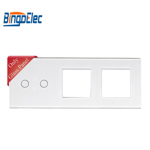 Bingoelec Hot Sale Three Color 2G With 2 Frame Tempering Glass Panel 86*228mm