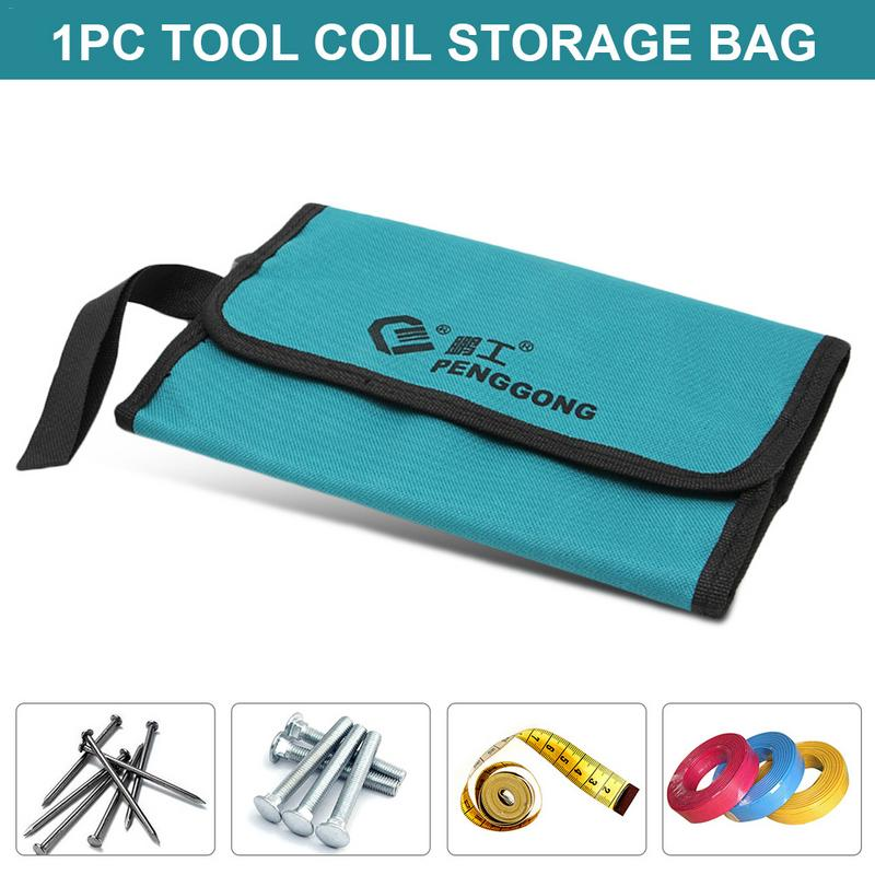 1PC Tool Coil Storage Bag Practical Multi-Function Waterproof Oxford Canvas Bag Work Bag Electrician Hardware Bag Garden Tool