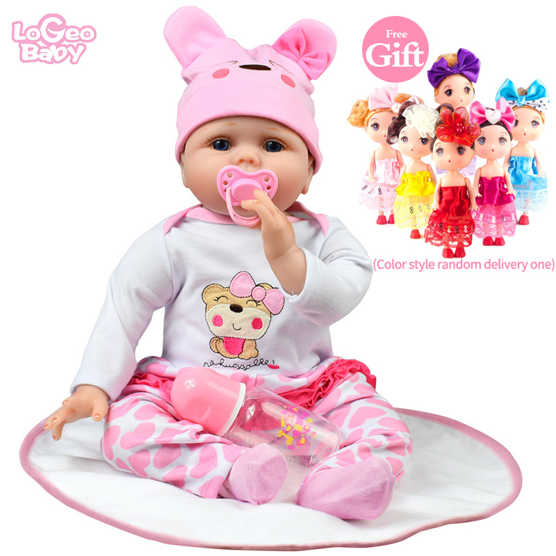 Logeo Baby Reborn Cute Fashion Realistic Silicone Doll 22 Newborn Dolls Child Toy Kit