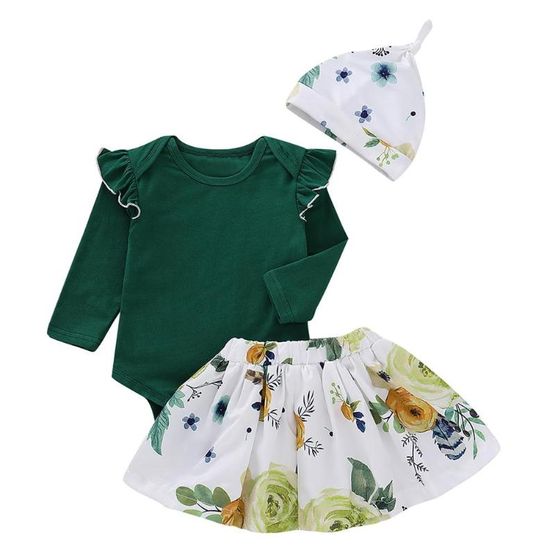 3pcs Kids Baby Flying Sleeve Rompers Floral Print Skirt Hat Clothes Set 3pcs Kids Baby Flying Sleeve Rompers Floral Print Skirt