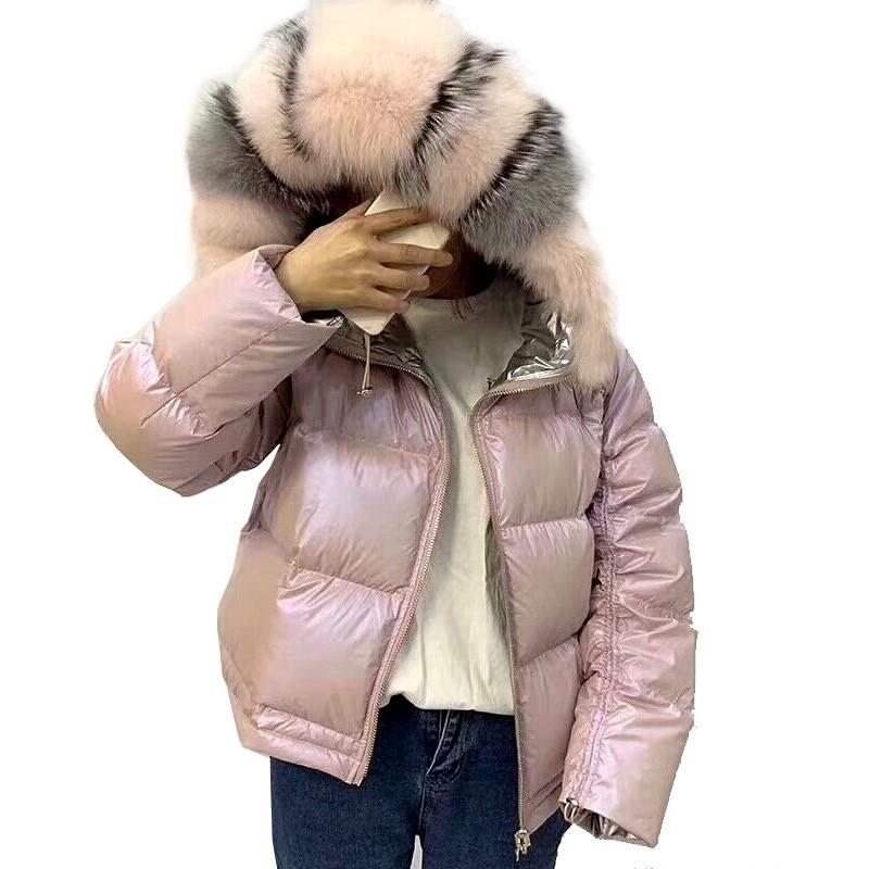 Femmes Femelle Renard Pieds Manteau Deux L'esprit De Mode black Super Courte Doudounes face Manteaux Grand Fourrure Pink Épaississement Lâche Chauds gold Col Hiver 54xw6qwX