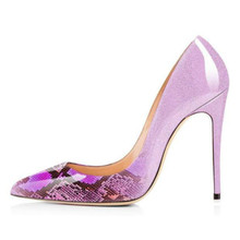 лучшая цена 2019 Spring Women High Heels Shoes Changing Color Stilettos Women Pointed Toe Shallow Pumps Lady Dress Shoes Pumps Slip On