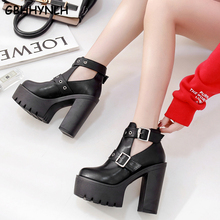 Купить с кэшбэком GBHHYNLH Womens Boots spring shoes Platform High Heel Boots Ladies Ankle Boots Punk Rock Motorcycle Boots Platform Shoes LJA560