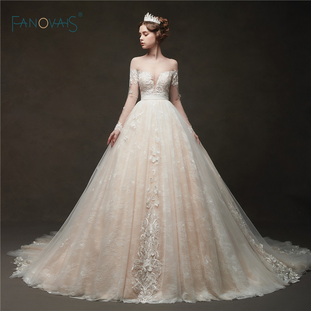 Elegant Wedding Dresses 2019 Long Sleeve Lace Ball Gown Wedding Gown Champagne Bridal Dress Wedding Party Vestido de Noivas NW46