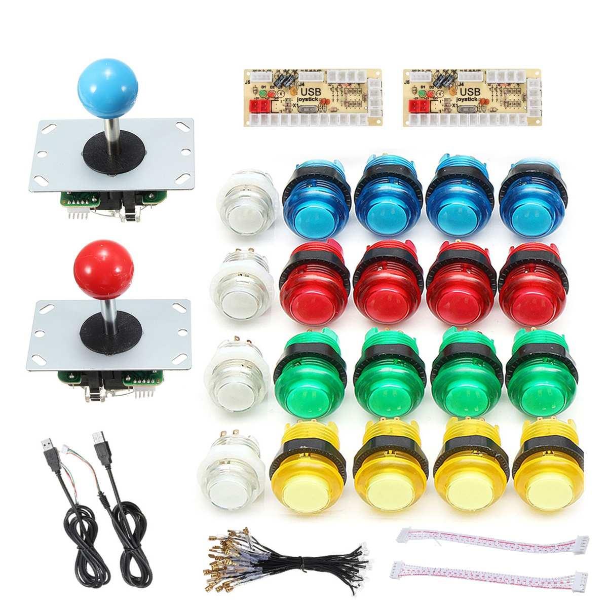 Bricolage Joystick Kits d'arcade 2 joueurs avec 20 boutons d'arcade de LED + 2 Joysticks + 2 Kit d'encodeur USB + câbles jeu de pièces d'arcade